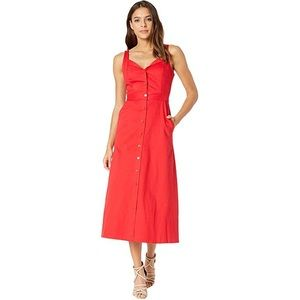 EQUIPMENT Oleisa Midi Button Front Dress Ecarlete